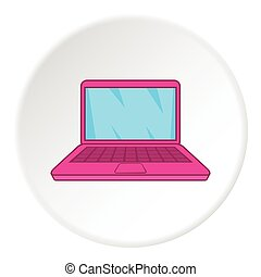 Laptop icon, cartoon style