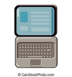 Laptop icon, cartoon style