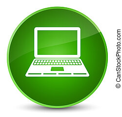 Laptop icon elegant green round button