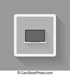 Laptop icon flat design vector.