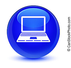 Laptop icon glassy blue round button