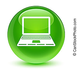 Laptop icon glassy green round button