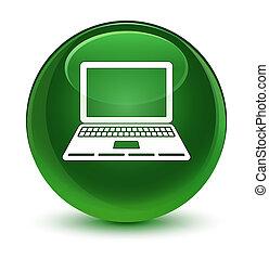 Laptop icon glassy soft green round button