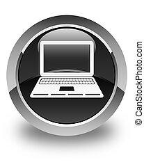 Laptop icon glossy black round button