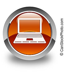 Laptop icon glossy brown round button