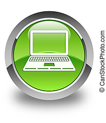 Laptop icon glossy green round button