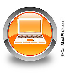 Laptop icon glossy orange round button