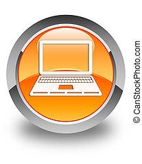 Laptop icon glossy orange round button