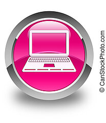 Laptop icon glossy pink round button