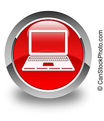 Laptop icon glossy red round button