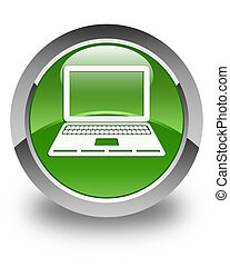Laptop icon glossy soft green round button