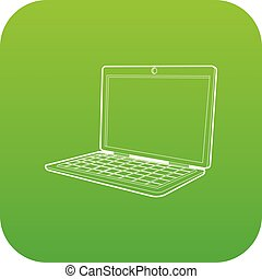 Laptop icon green vector