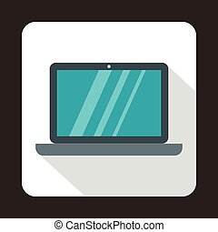 Laptop icon in flat style