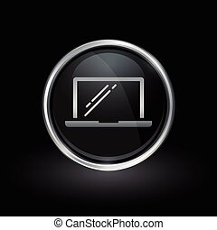 Laptop icon inside round silver and black emblem