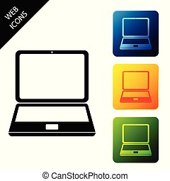 Laptop icon isolated on white background. Computer notebook with empty screen sign. Set icons colorful square buttons. Vector Illustration