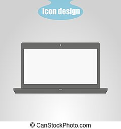 Laptop icon on a gray background. Vector illustration