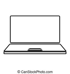 Laptop icon outline black color vector illustration flat style image