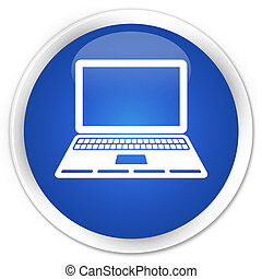 Laptop icon premium blue round button