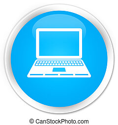 Laptop icon premium cyan blue round button
