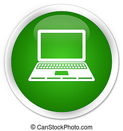 Laptop icon premium green round button