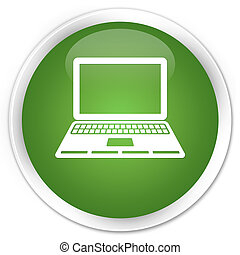 Laptop icon premium soft green round button