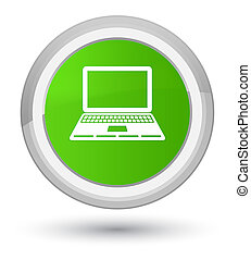 Laptop icon prime soft green round button