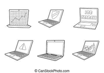Laptop icon set, outline style