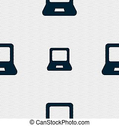 Laptop icon sign. Seamless pattern with geometric texture. Vector