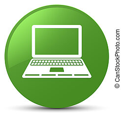 Laptop icon soft green round button