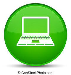 Laptop icon special green round button