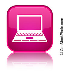 Laptop icon special pink square button