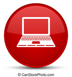Laptop icon special red round button