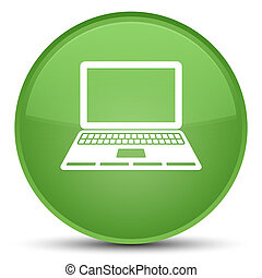 Laptop icon special soft green round button