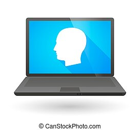 Laptop icon with a male head