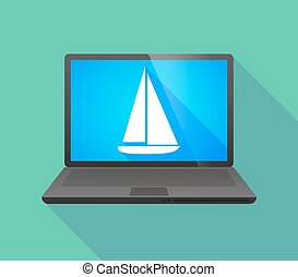 Laptop icon with a ship