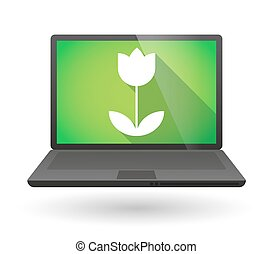 Laptop icon with a tulip