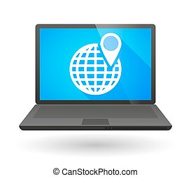 Laptop icon with a world globe