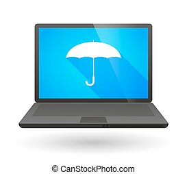 Laptop icon with an umbrella