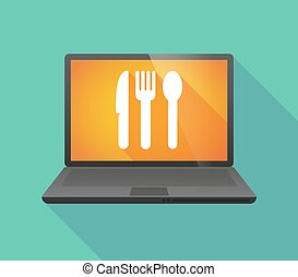 Laptop icon with cutlery