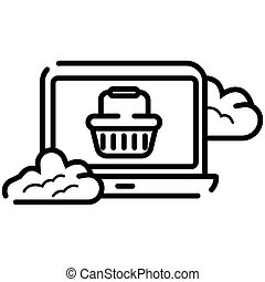 Laptop icon with shopping cart