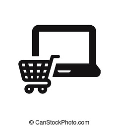 Laptop icon with shopping cart sign vector illustration