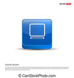 laptop, icona, -, 3d, blu, bottone