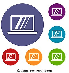 Laptop icons set in flat circle reb, blue and green color...