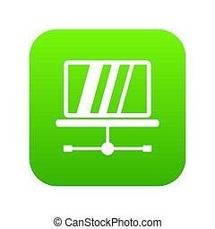 laptop, ikona, zielony, cyfrowy