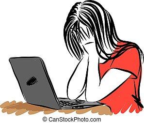 laptop, ilustração, triste, vetorial, frente, menina