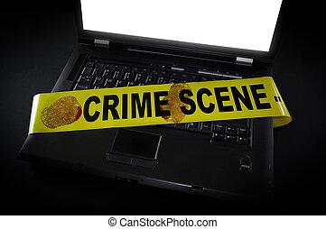 laptop, impressões digitais, aquilo, cena, fita, crime, através