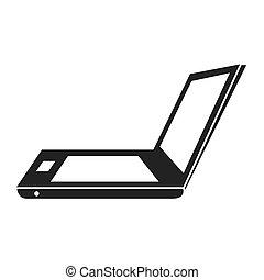 Laptop in vintage colors, vector illustration graphic.