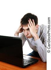 laptop, incomodado, adolescente