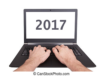 Laptop isolated - New Year - 2017