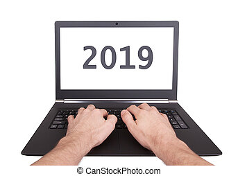 Laptop isolated - New Year - 2019